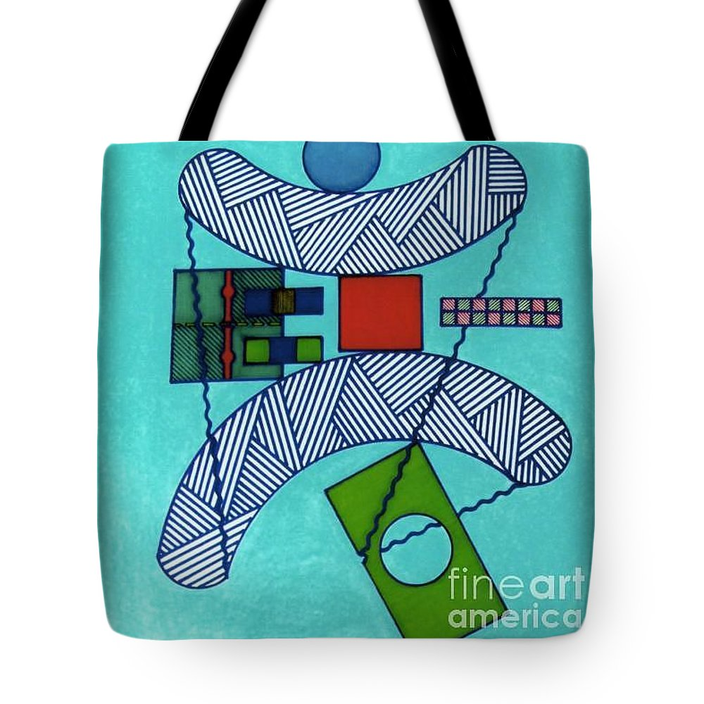 Blue Balance Tote Bag featuring the drawing Rfb0555 by Robert F Battles