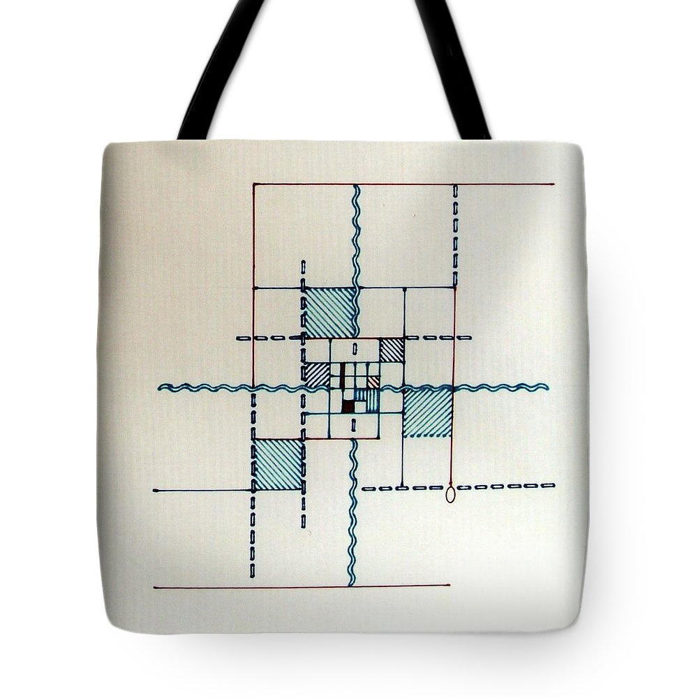 Line Driven Tote Bag featuring the drawing Rfb0557 by Robert F Battles