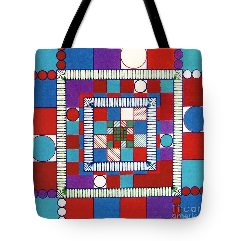 Square Logic Tote Bag featuring the drawing Rfb0564 by Robert F Battles