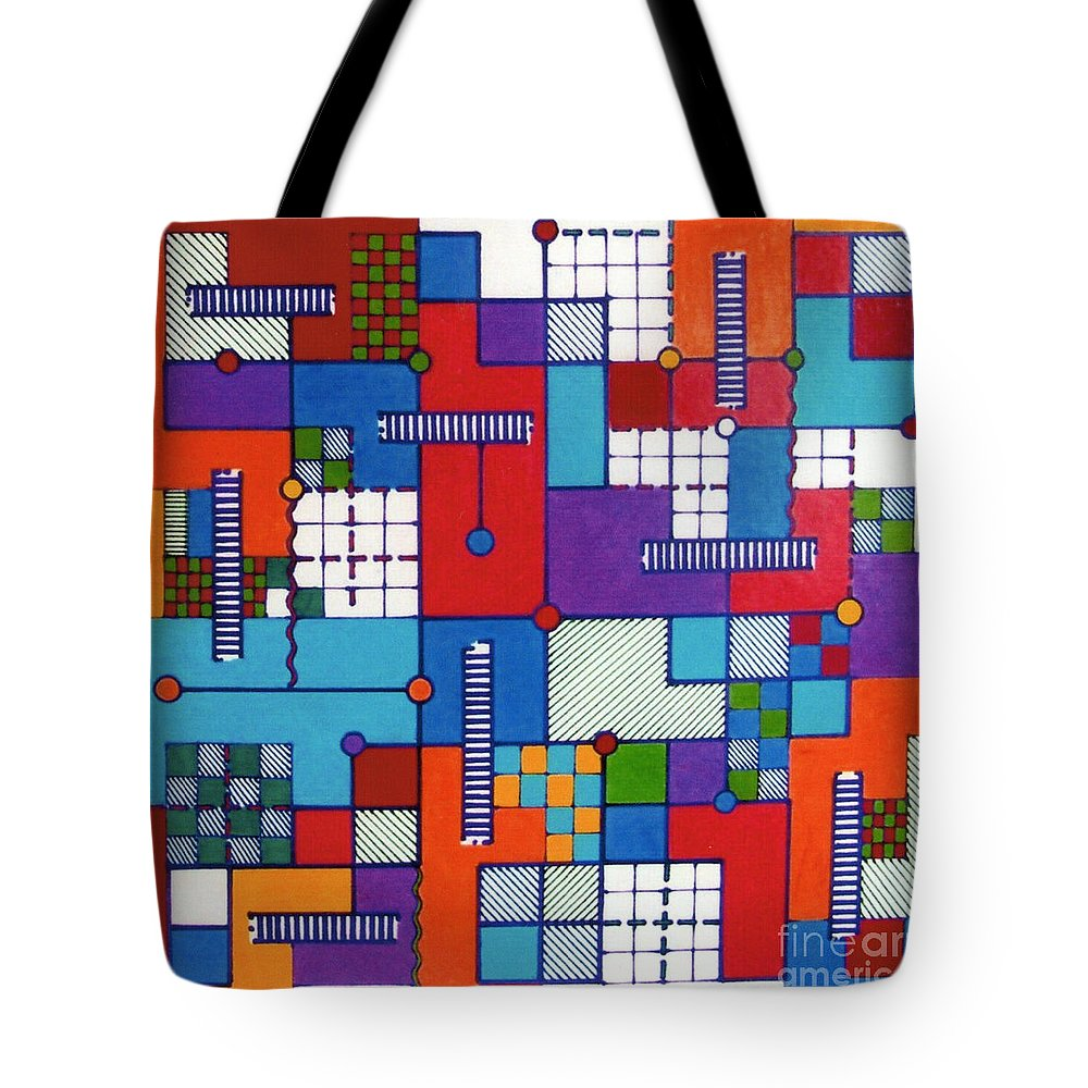 Puzzled Tote Bag featuring the drawing Rfb0565 by Robert F Battles