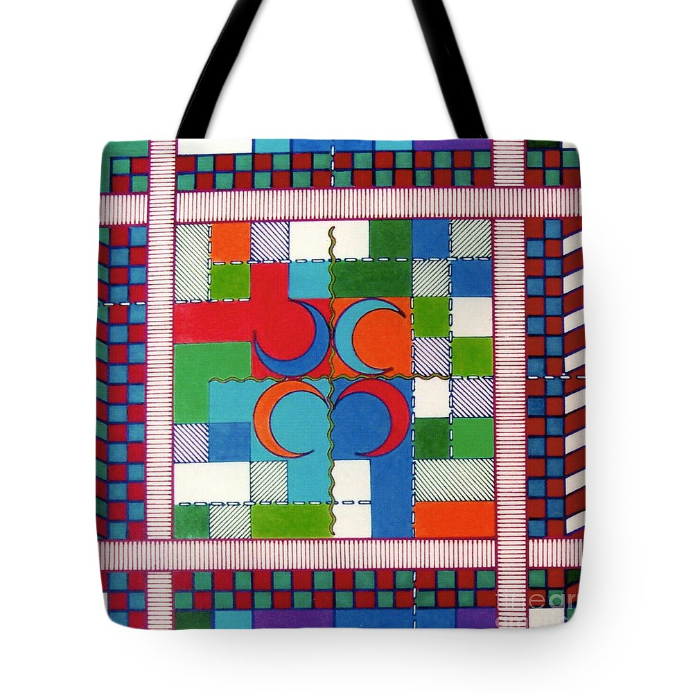 Crescent Colors Tote Bag featuring the drawing Rfb0569 by Robert F Battles