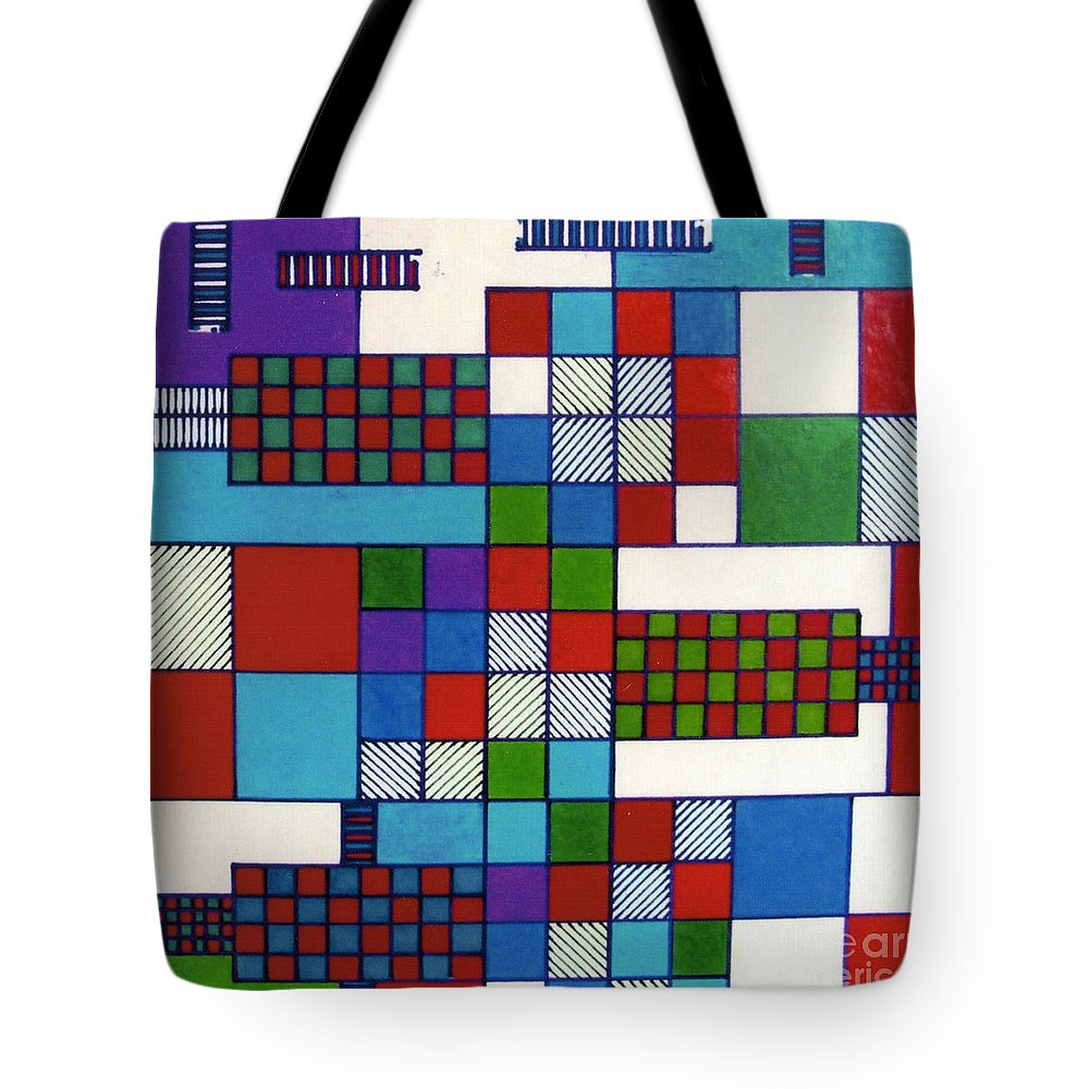 Squared Out Tote Bag featuring the drawing Rfb0572 by Robert F Battles