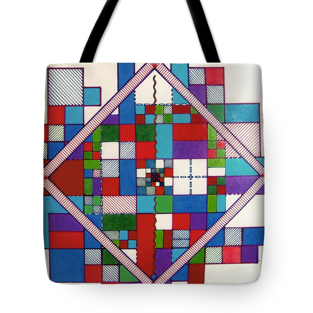 Angled Tote Bag featuring the drawing Rfb0574 by Robert F Battles