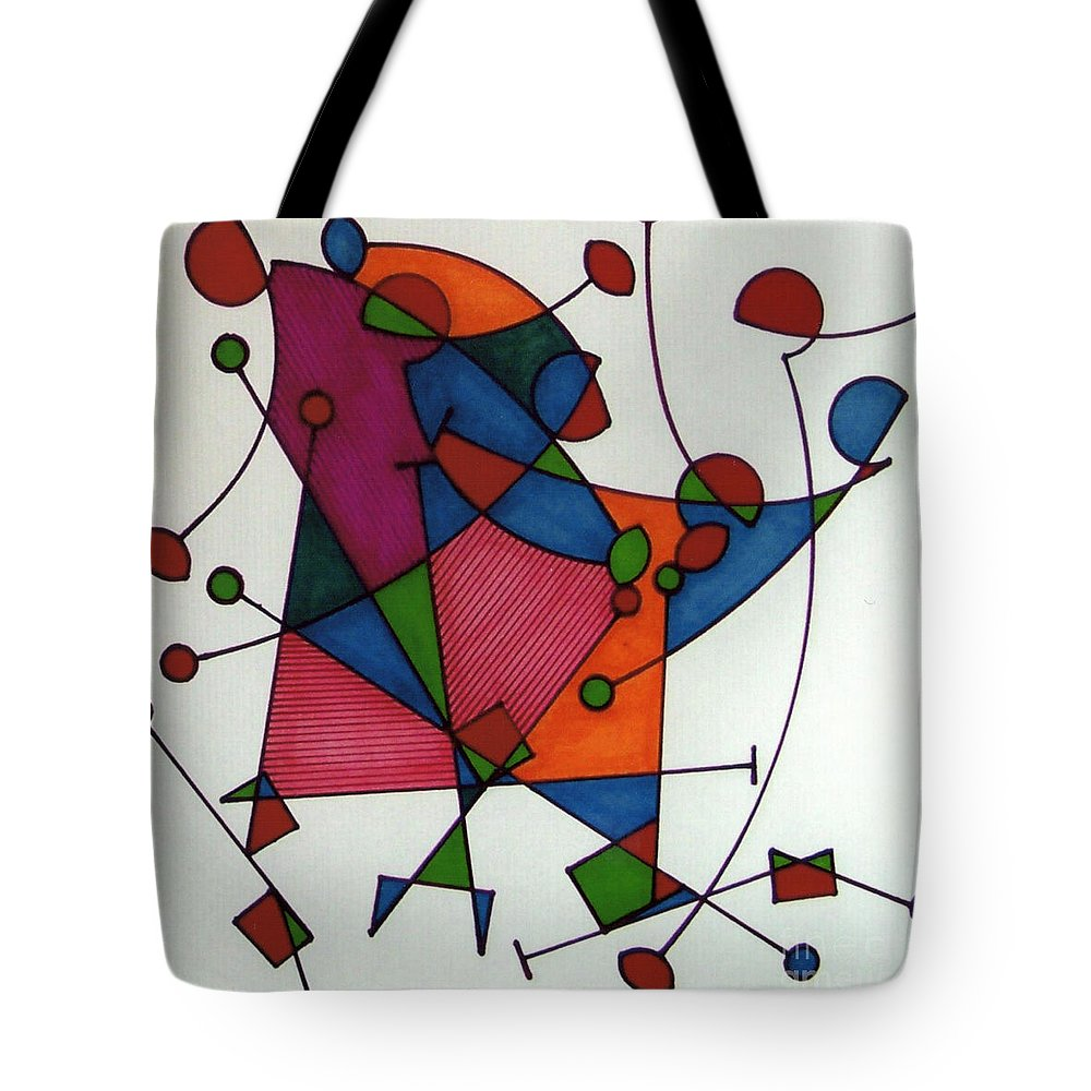 Kiting Tote Bag featuring the drawing Rfb0578 by Robert F Battles