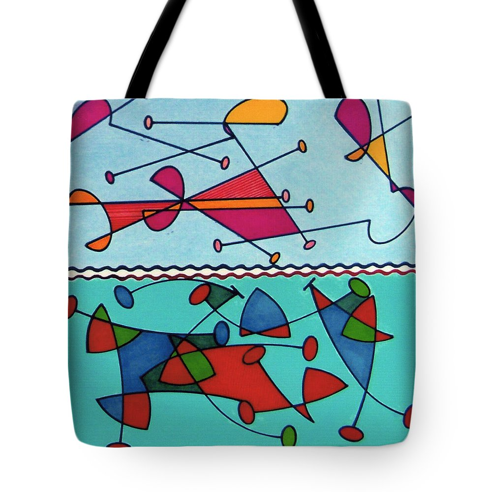 Aqua Birds Tote Bag featuring the drawing Rfb0580 by Robert F Battles
