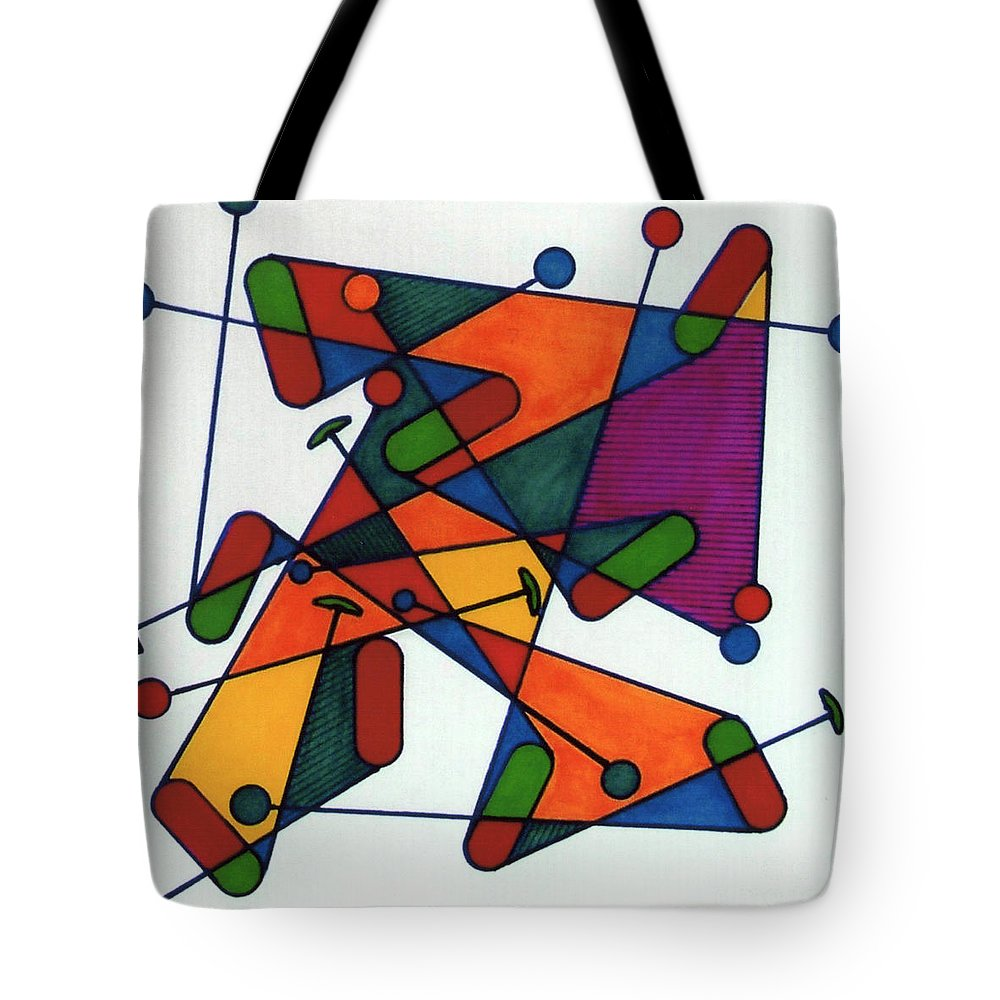 Rubics Cube Tote Bag featuring the drawing Rfb0582 by Robert F Battles