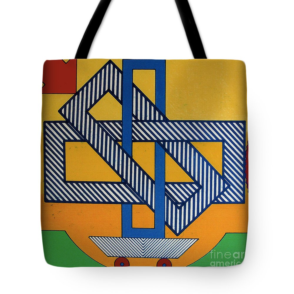 Rectangled Tote Bag featuring the drawing Rfb0607 by Robert F Battles
