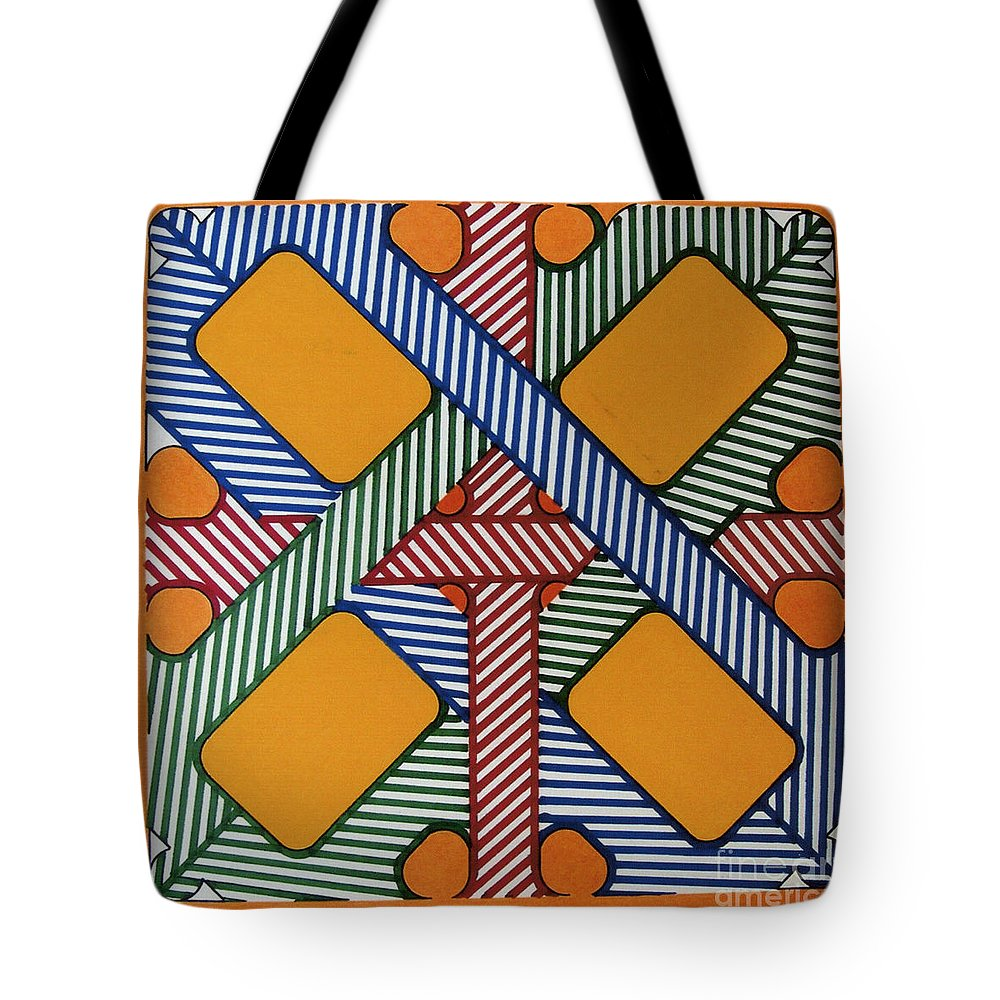 Abstract Tote Bag featuring the drawing Rfb0611 by Robert F Battles