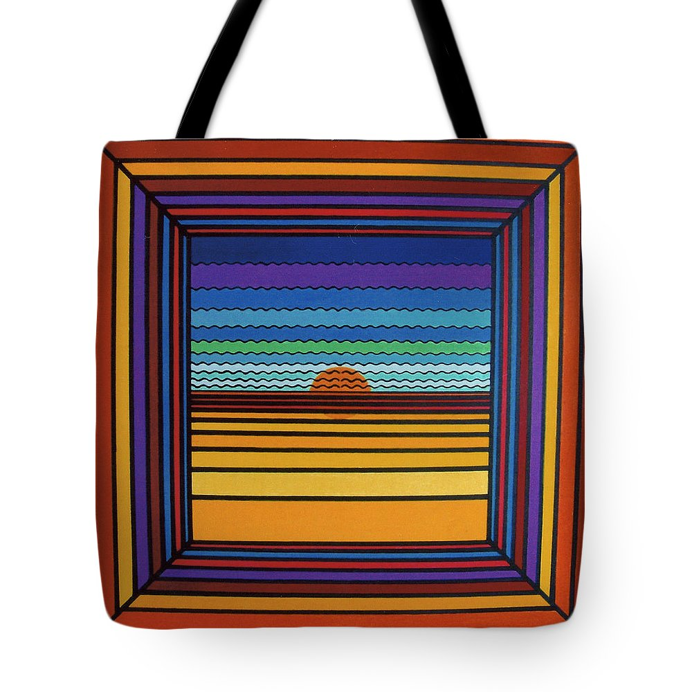 Framed Sunset Tote Bag featuring the drawing Rfb0641 by Robert F Battles