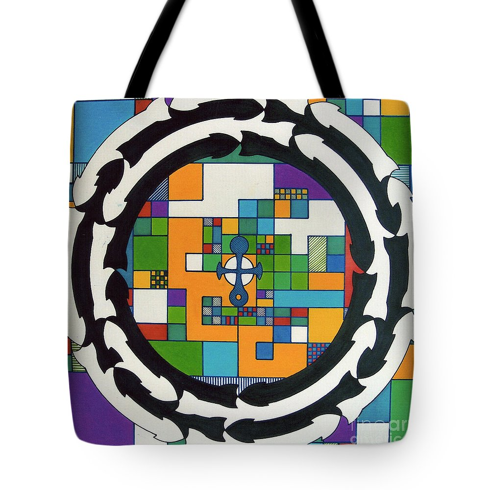 Celtic Cross Tote Bag featuring the drawing Rfb0712 by Robert F Battles