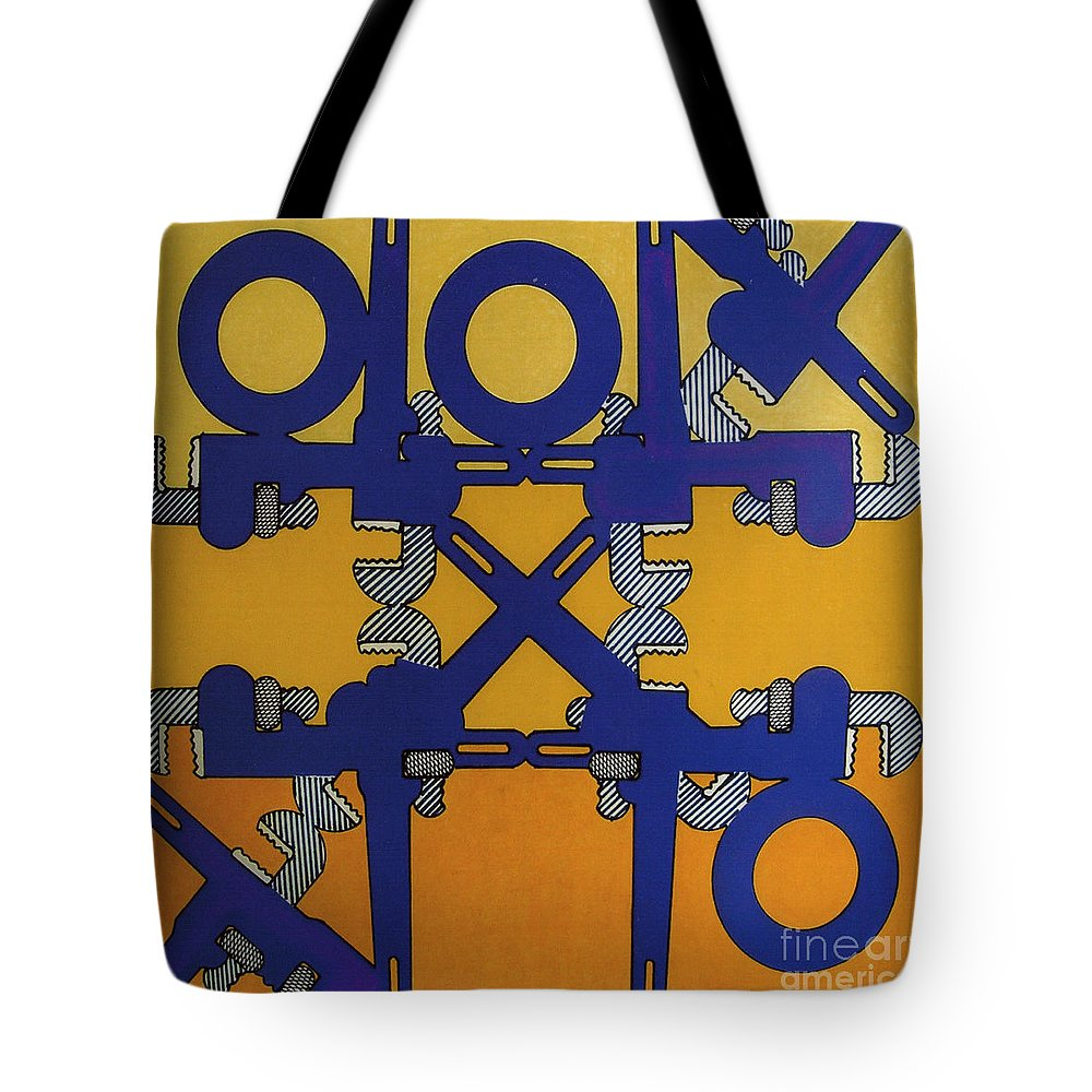 Tic-tac-tools Tote Bag featuring the drawing Rfb0801 by Robert F Battles