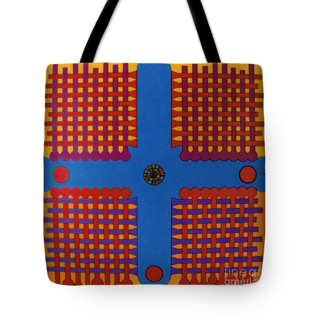 Woven Cross Tote Bag featuring the drawing Rfb0807 by Robert F Battles