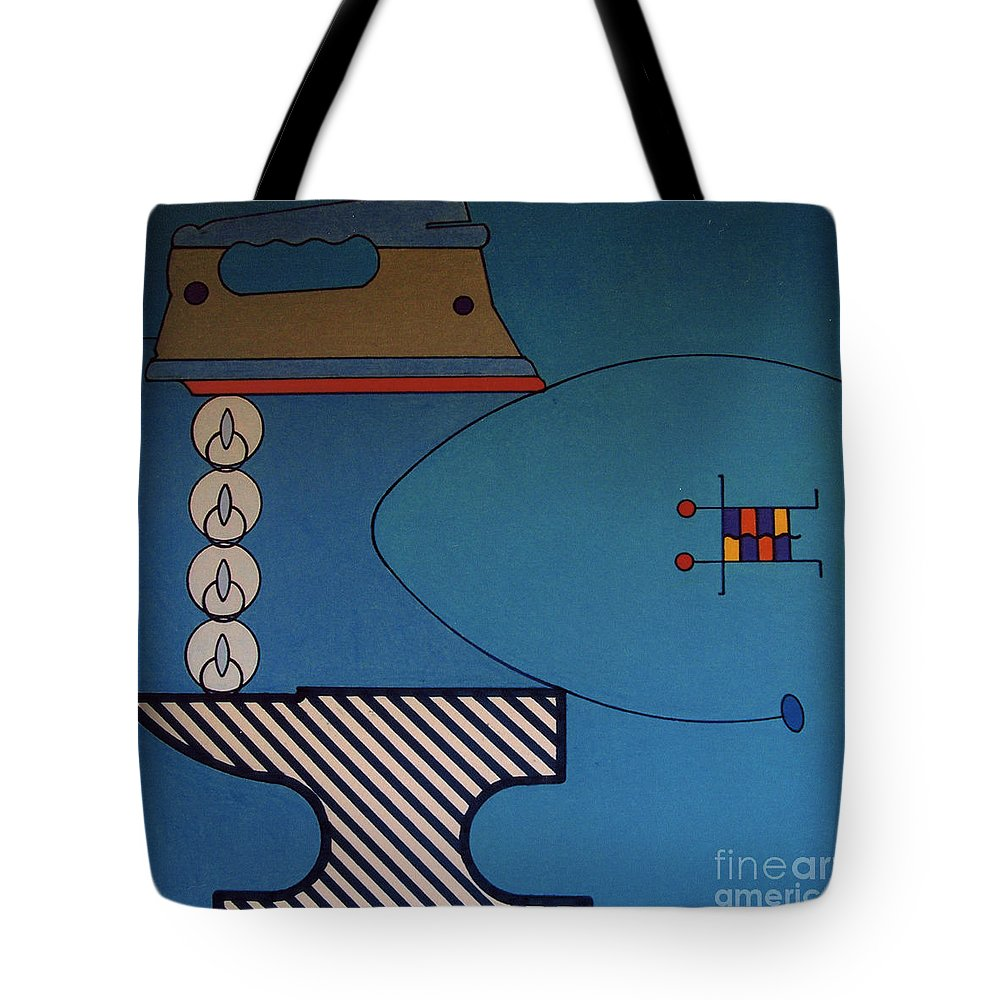 Iron & Anvil Tote Bag featuring the drawing Rfb0908 by Robert F Battles