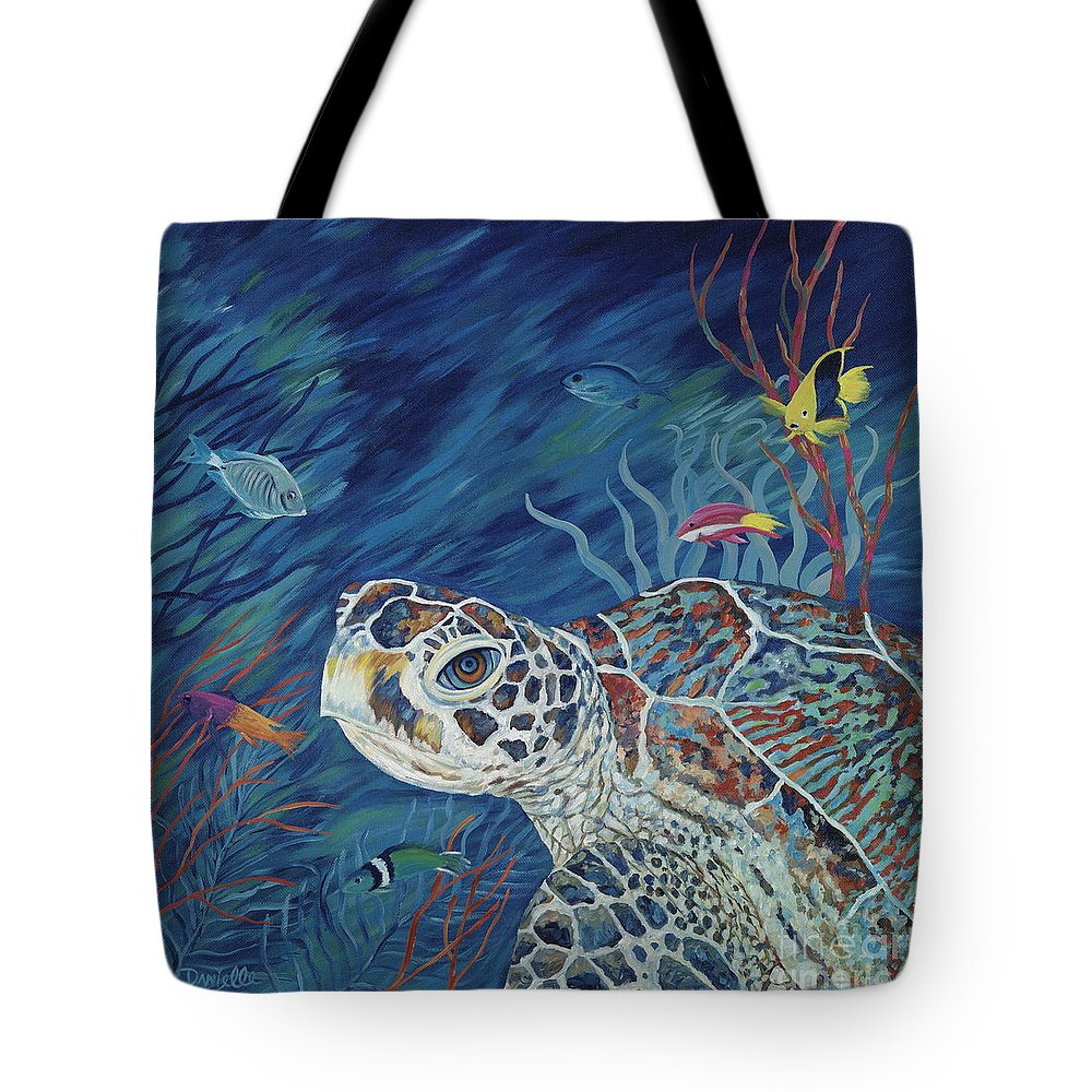 Green Sea Turtle Tote Bag featuring the painting Rhapsody In Blue by Danielle Perry