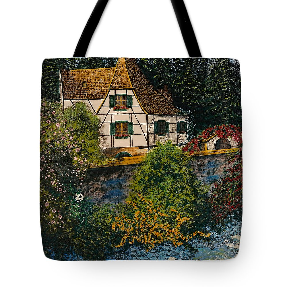 Germany Tote Bag featuring the painting Rhine River Cottage by V Boge