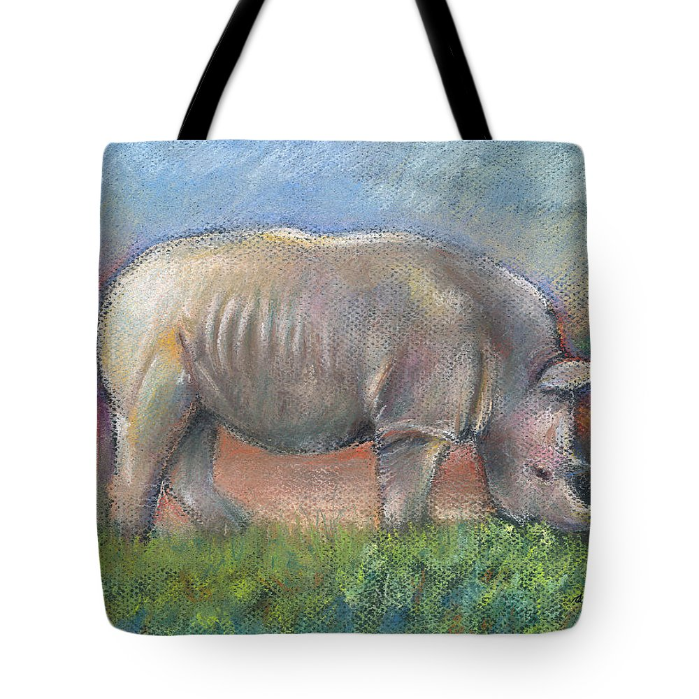 Rhino Tote Bag featuring the pastel Rhino by Suzanne Blender