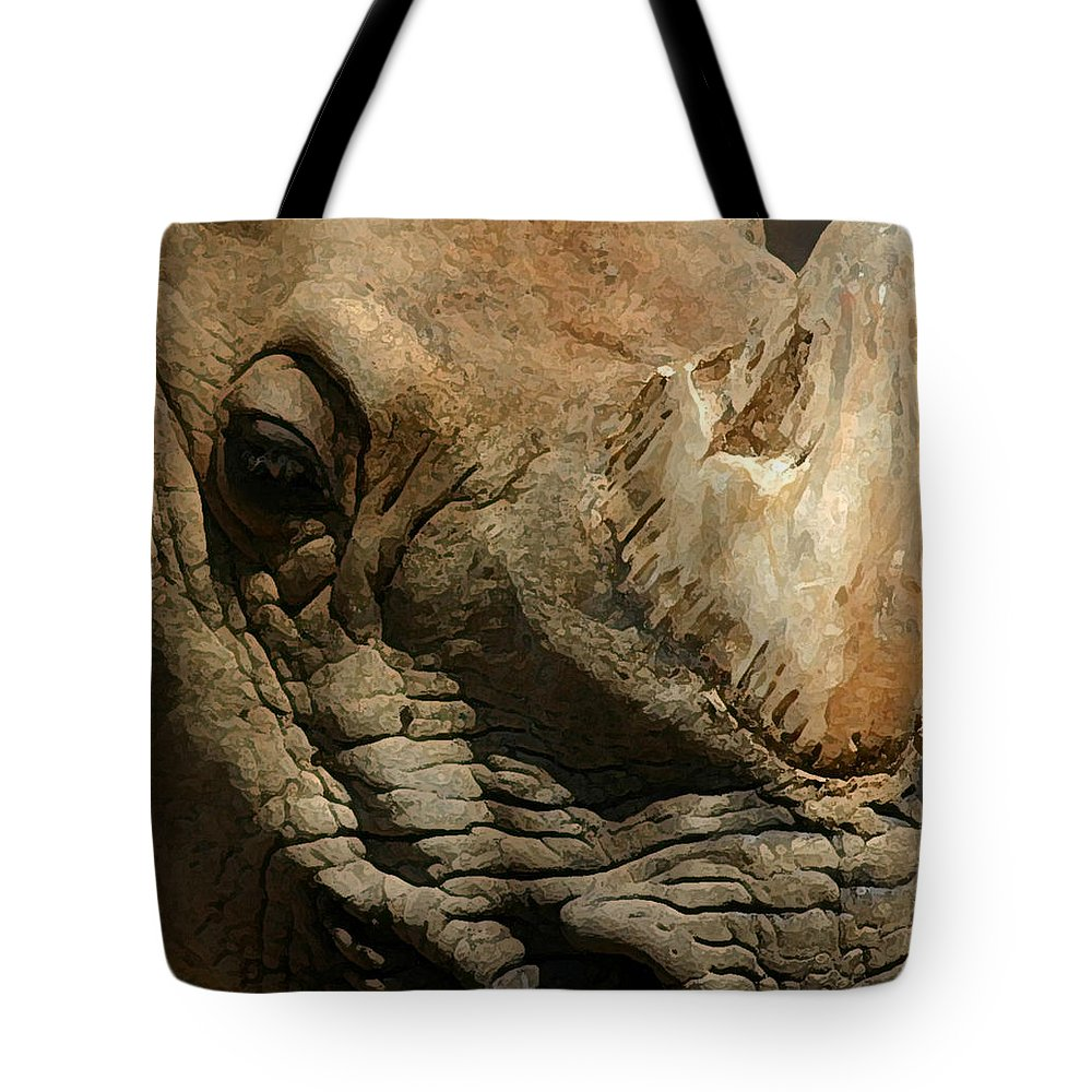 Rhino Tote Bag featuring the photograph Rhino by Mary Haber