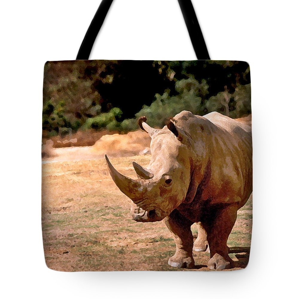 Animal Tote Bag featuring the painting Rhino by Steve Karol
