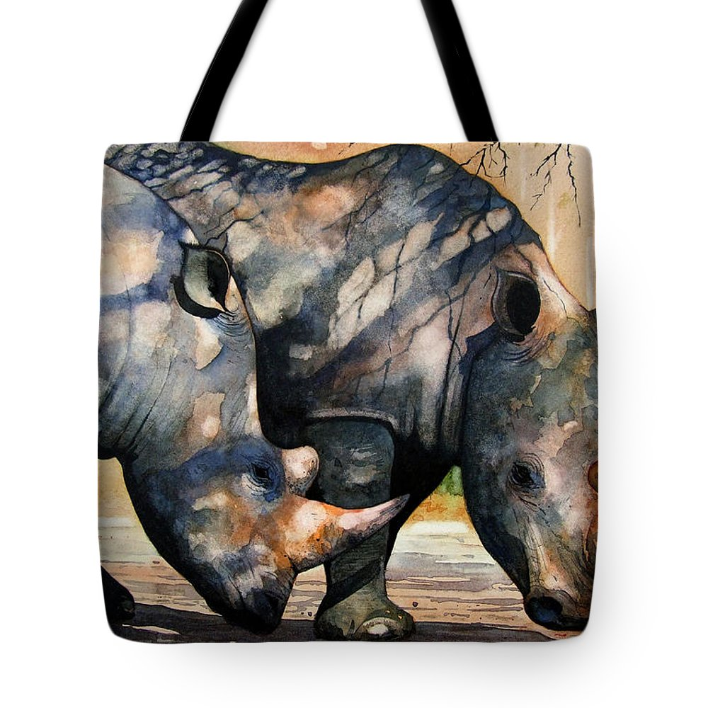 Rhino Tote Bag featuring the painting Rhinos In Dappled Shade. by Paul Dene Marlor