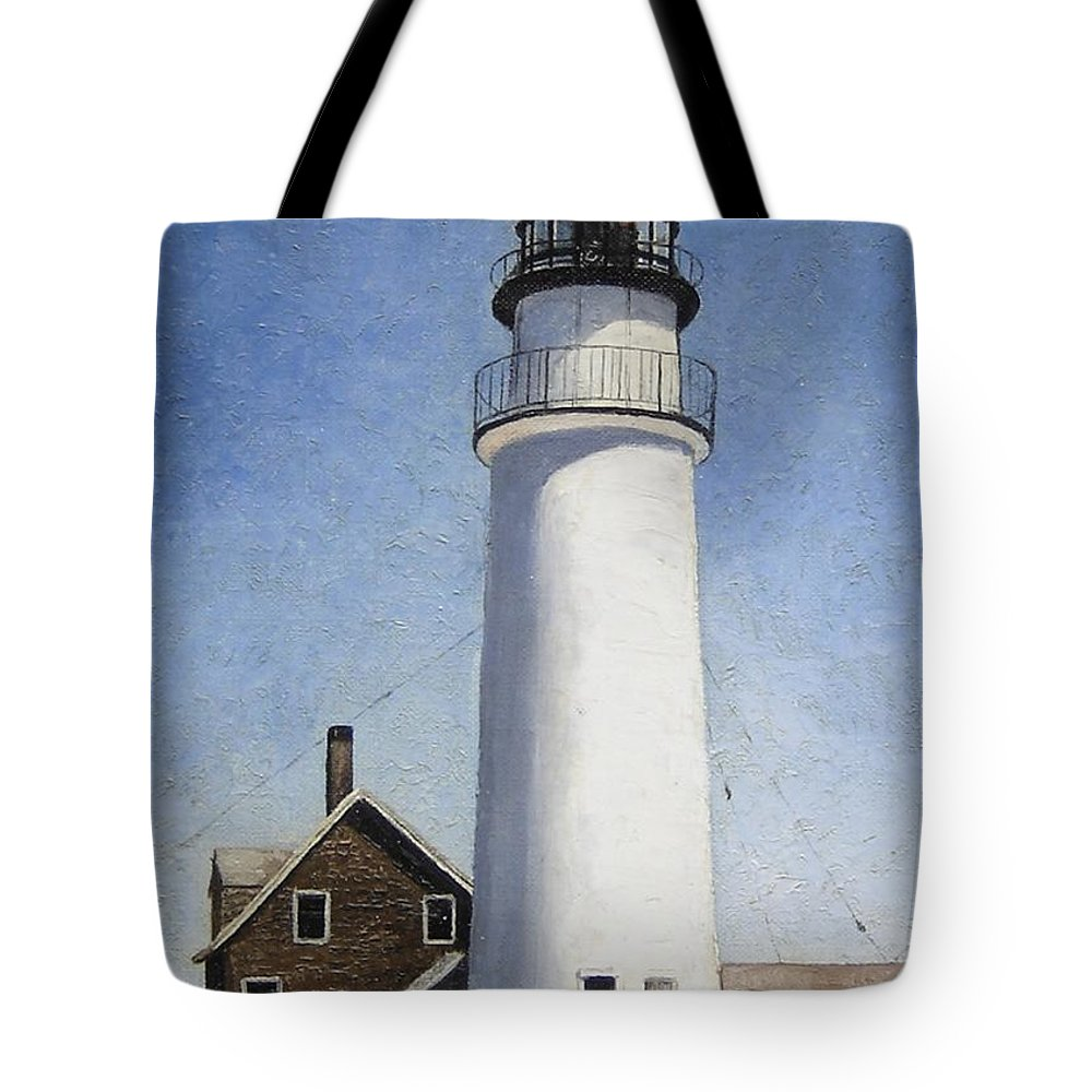 Lighthouse Tote Bag featuring the painting Rhode Island Lighthouse by Mary Rogers