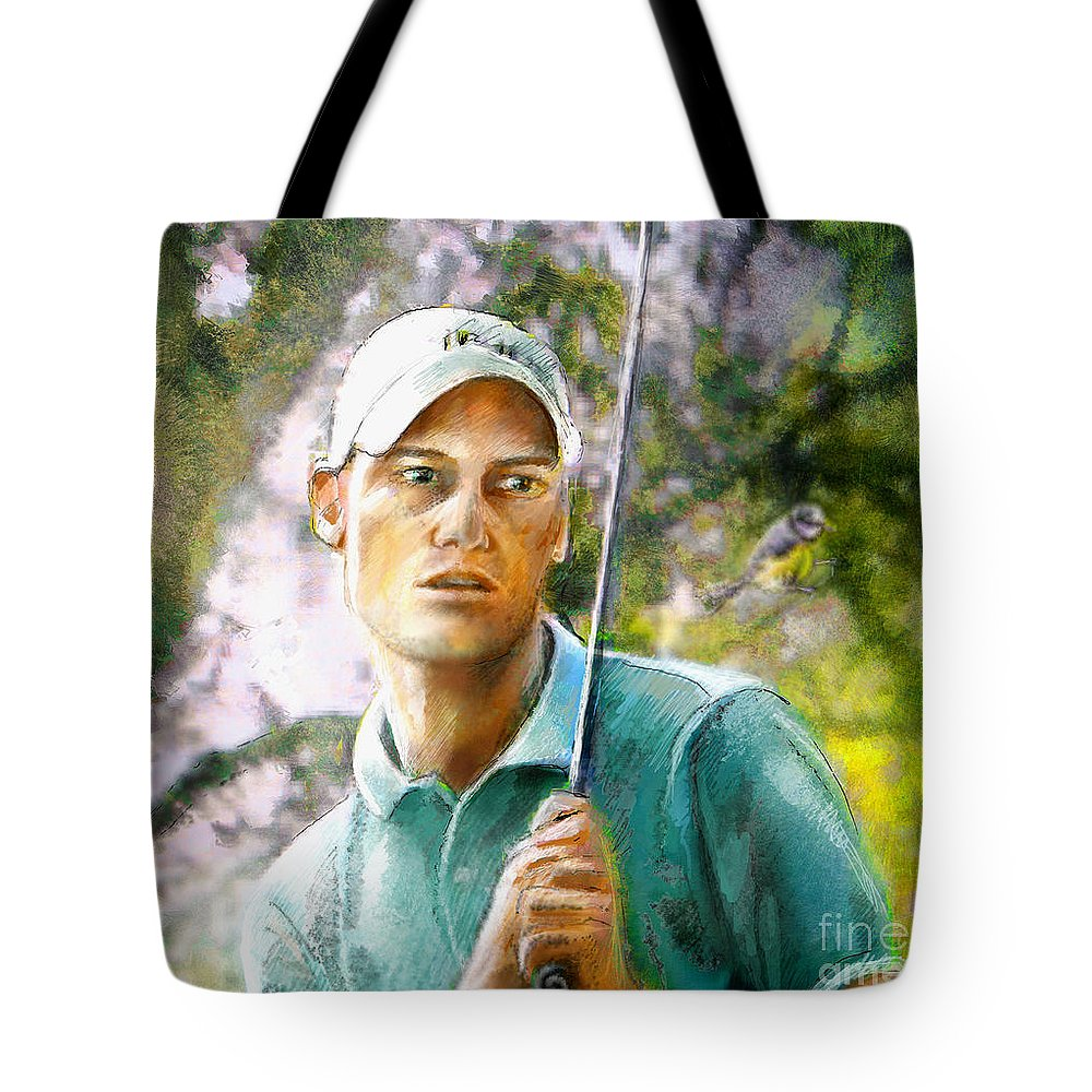Rhys Davies Tote Bag featuring the painting Rhys Davies by Miki De Goodaboom