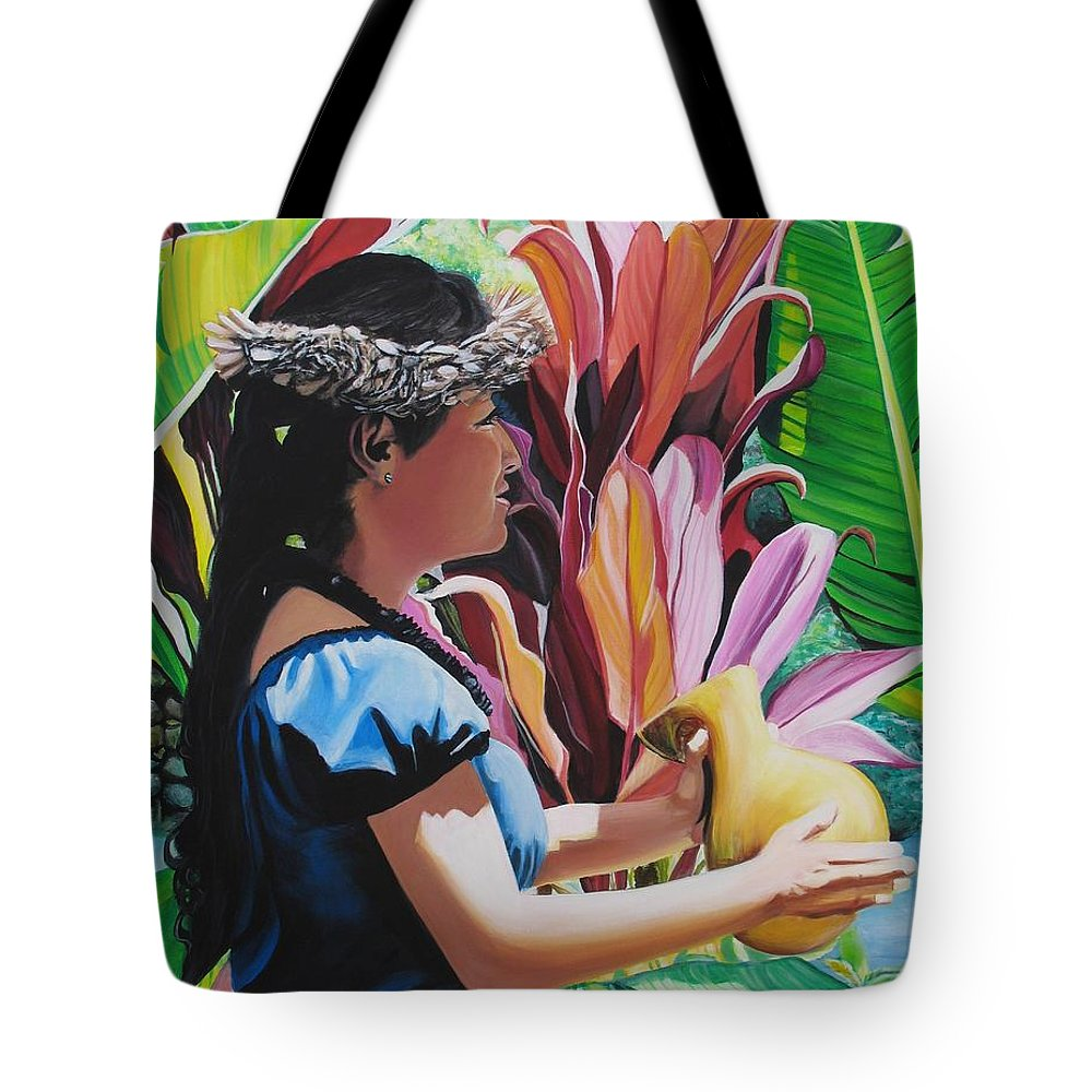 Rhythm Tote Bag featuring the painting Rhythm Of The Hula by Marionette Taboniar