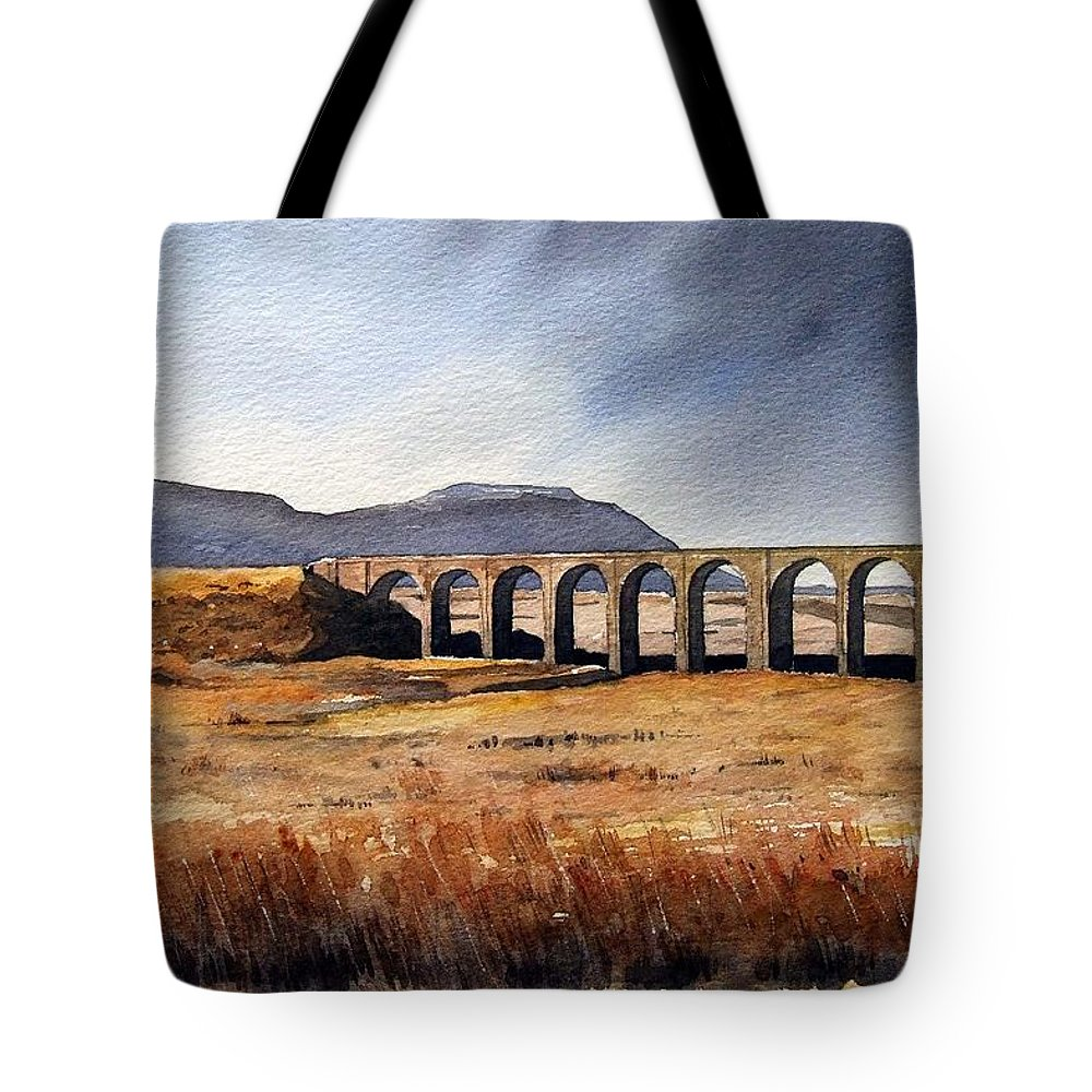 Landscape Tote Bag featuring the painting Ribblehead Viaduct by Paul Dene Marlor