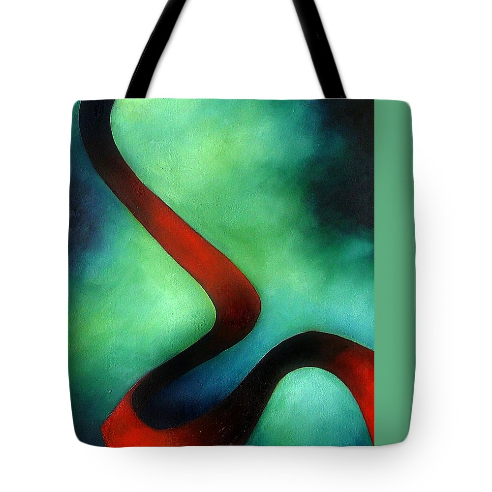 Red Tote Bag featuring the painting Ribbon Of Time by Elizabeth Lisy Figueroa