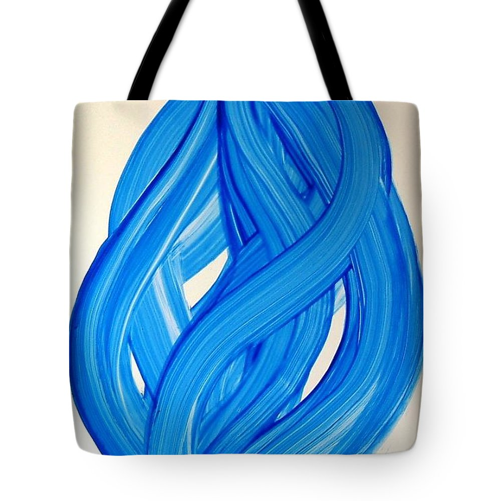 Abstract Modern Contemporary Yupo Art Painting Romantic Pop Blue Tote Bag featuring the painting Ribbons of Love-Blue by Manjiri Kanvinde