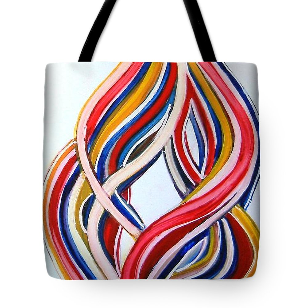 Abstract Modern Contemporary Pop Romantic Love Colourful Red Yellow Blue White Tote Bag featuring the painting Ribbons Of Love-multicolour by Manjiri Kanvinde