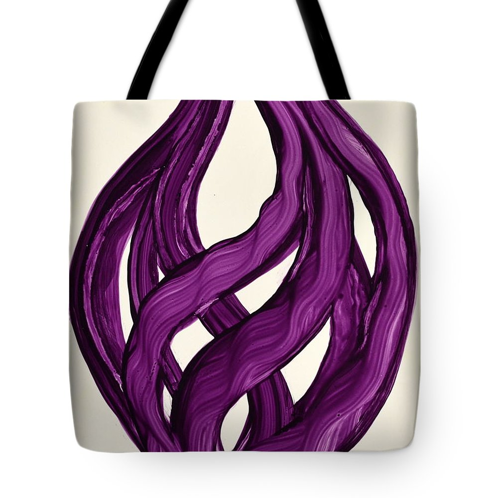 Abstract Art Yupo Comtemporary Modern Pop Romantic Vibrant Tote Bag featuring the painting Ribbons of love-Violet by Manjiri Kanvinde