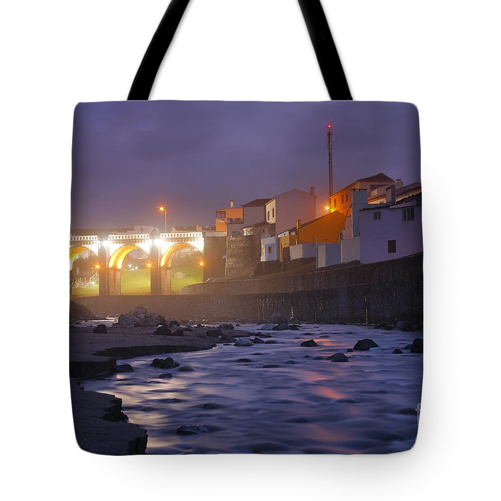 Ribeira Grande Tote Bag featuring the photograph Ribeira Grande At Night by Gaspar Avila