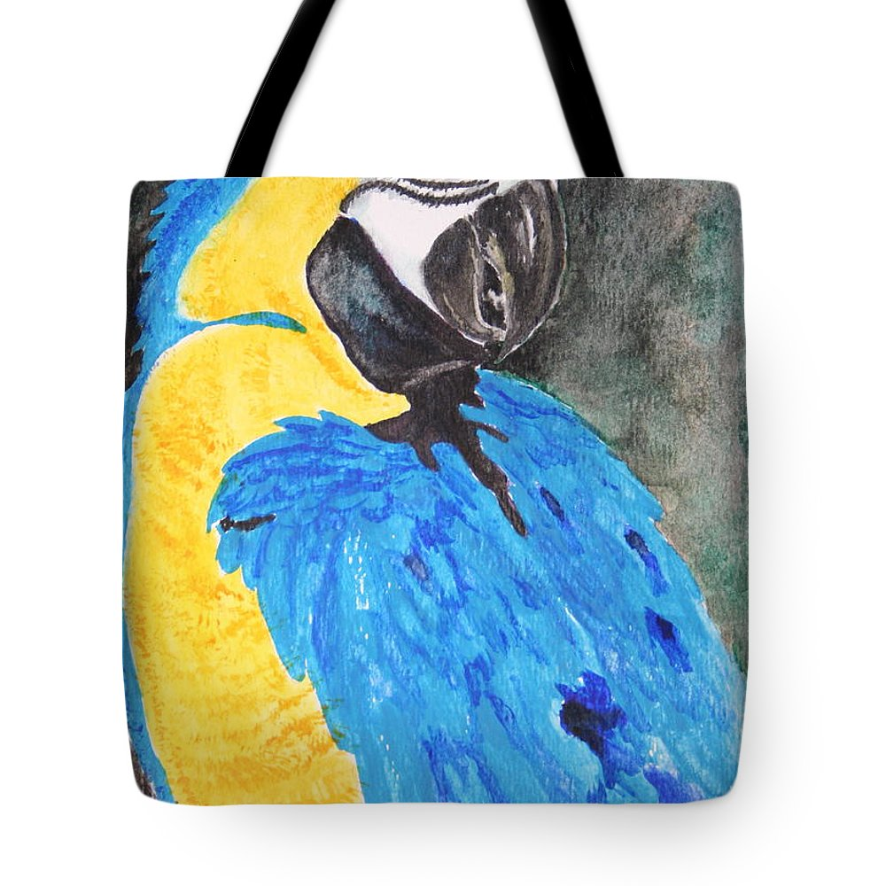 Parrot Tote Bag featuring the painting Ricco II by Ann Sokolovich