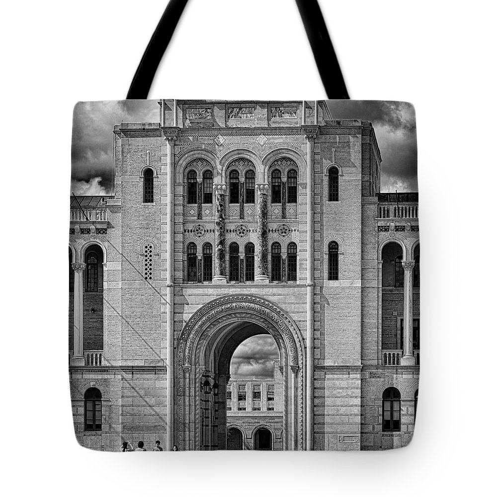 William marsh rice tote bag featuring the photograph rice university entrance by norman gabitzsch