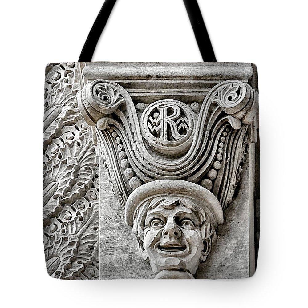 Rice university tote bag featuring the photograph rice university gargoyle by norman gabitzsch