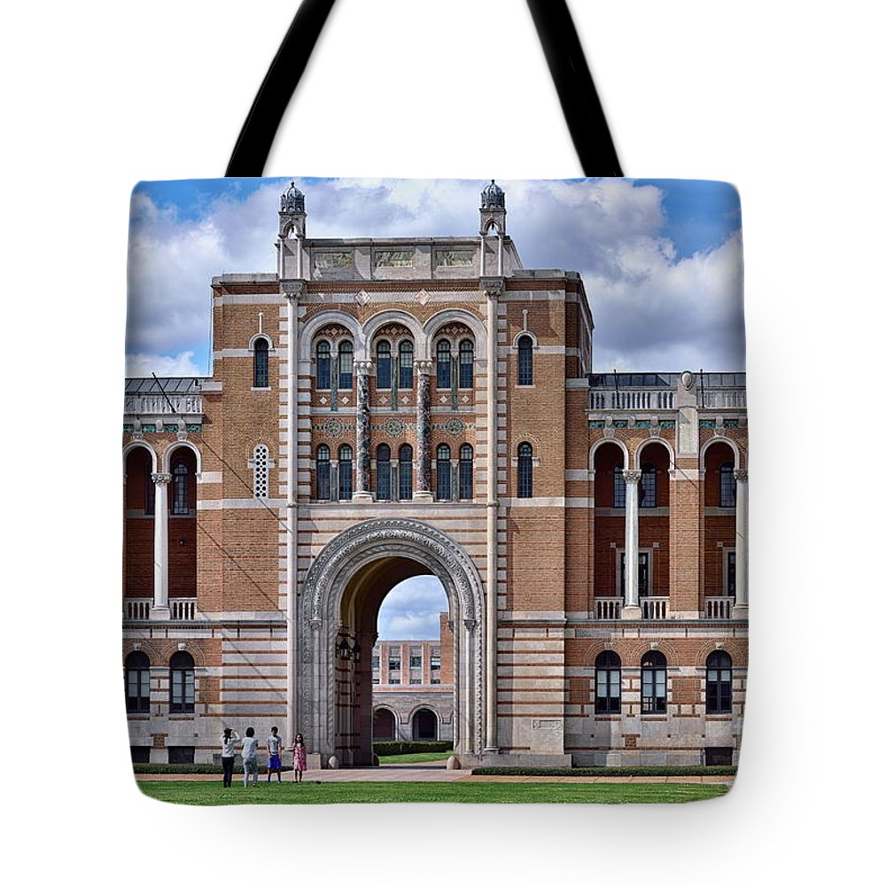 Rice university campus tote bag featuring the photograph rice university lovett hall by norman gabitzsch