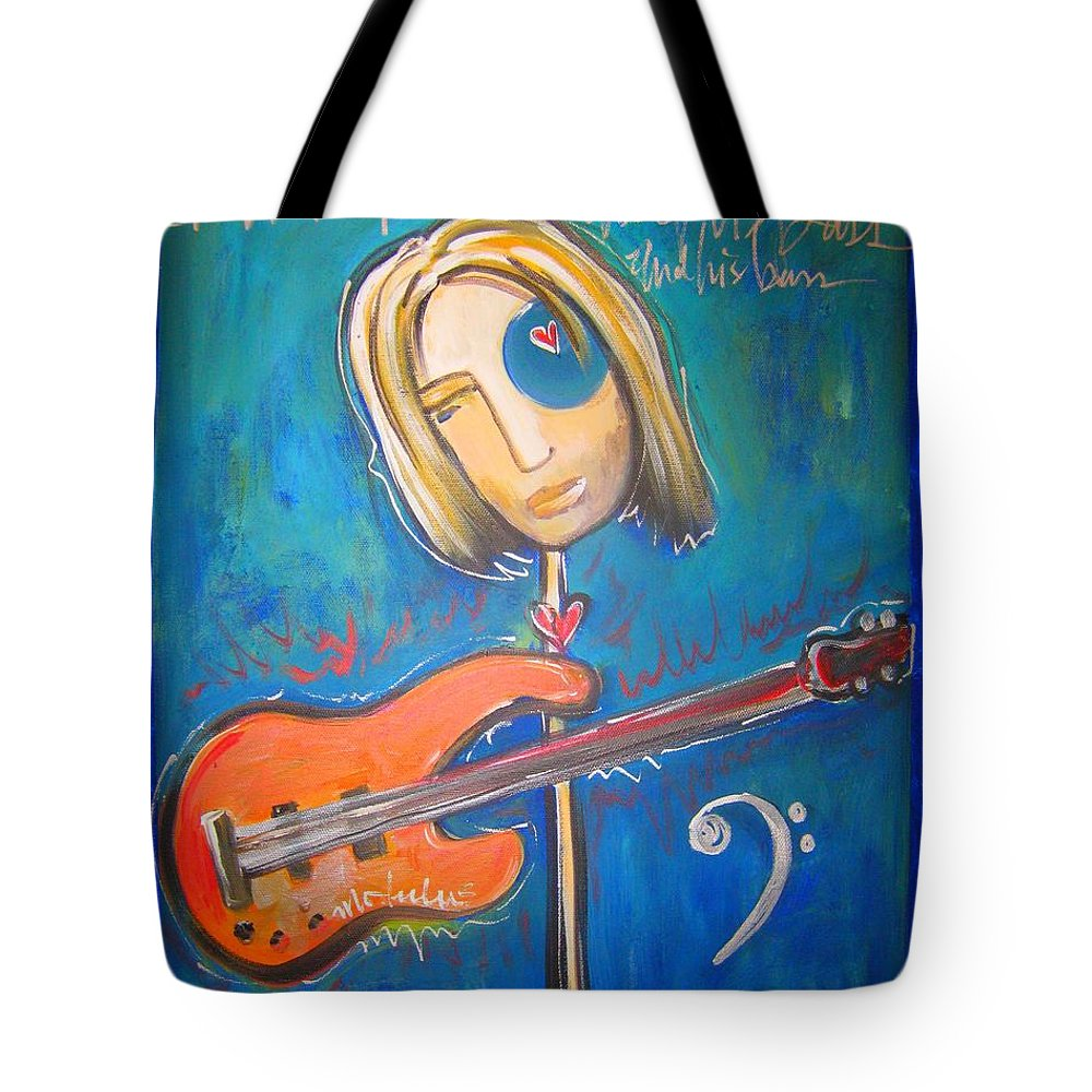 Blue Tote Bag featuring the painting Rich Ross And His Bass by Laurie Maves ART