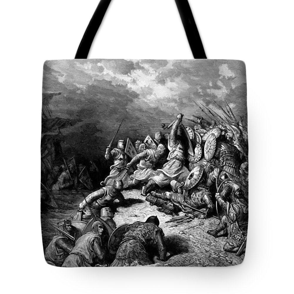 Richard Tote Bag featuring the painting Richard I The Lionheart Delivering Jaffa 1877 by Dore Gustave