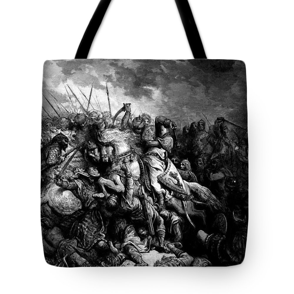 Richard Tote Bag featuring the painting Richard I The Lionheart In Battle At Arsuf In 1191 1877 by Dore Gustave