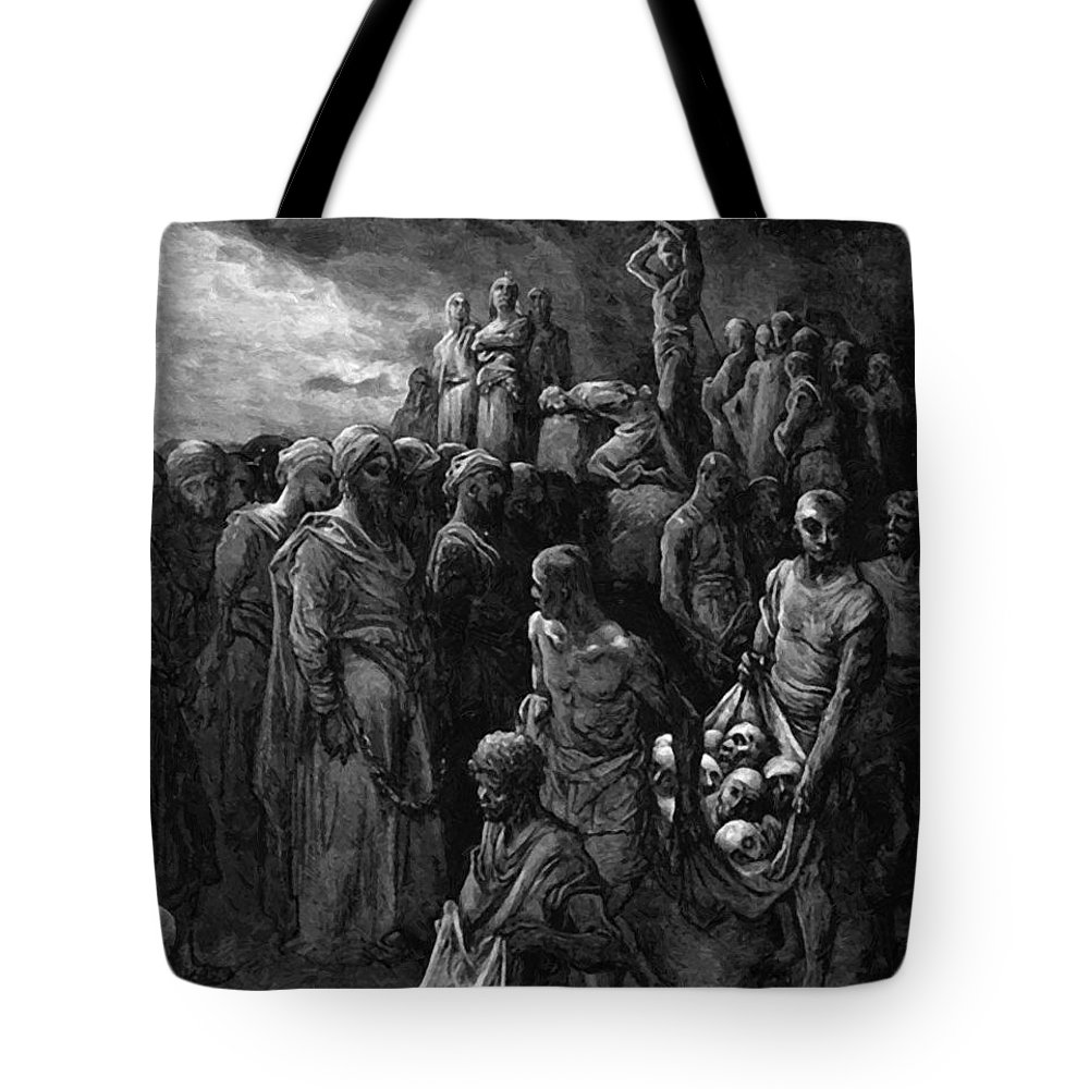Richard Tote Bag featuring the painting Richard I The Lionheart Massacres Captives In Reprisal 1877 by Dore Gustave