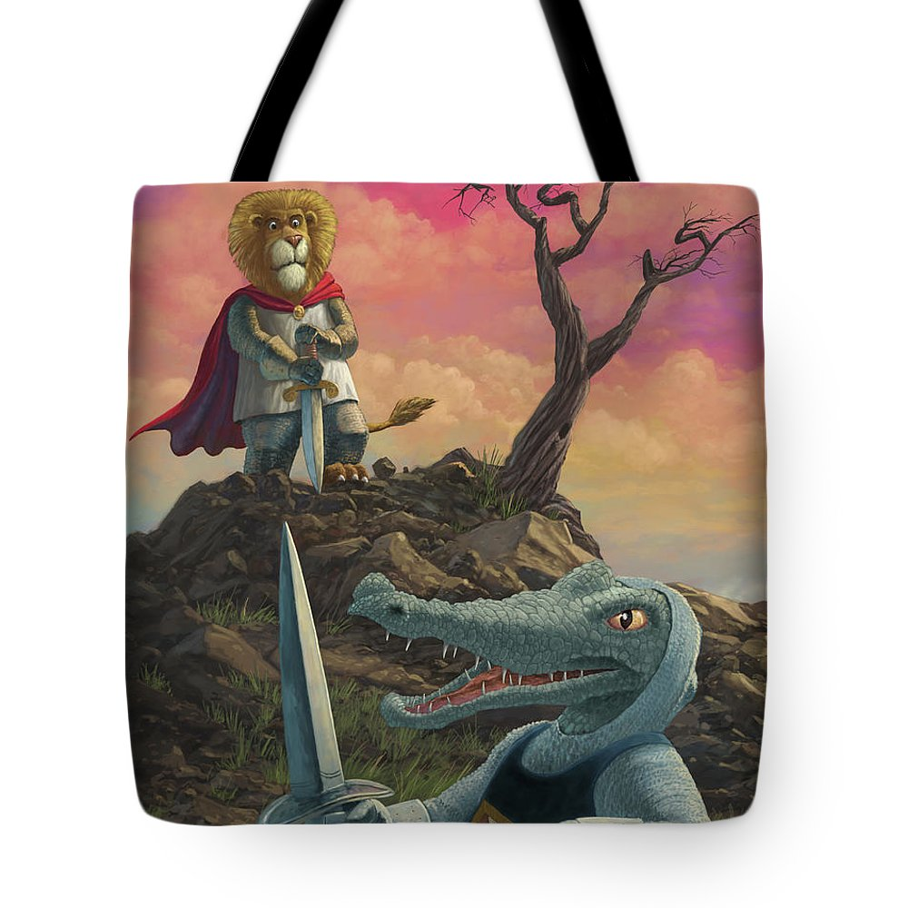 Richard Of Lionheart Tote Bag featuring the painting Richard Of Lionheart by Martin Davey