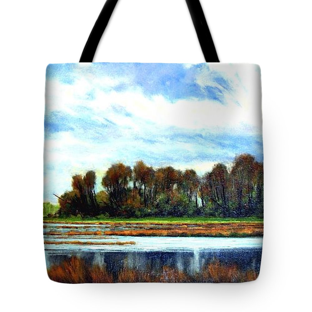 Landscapes Tote Bag featuring the painting Ridgefield Refuge Early Fall by Jim Gola