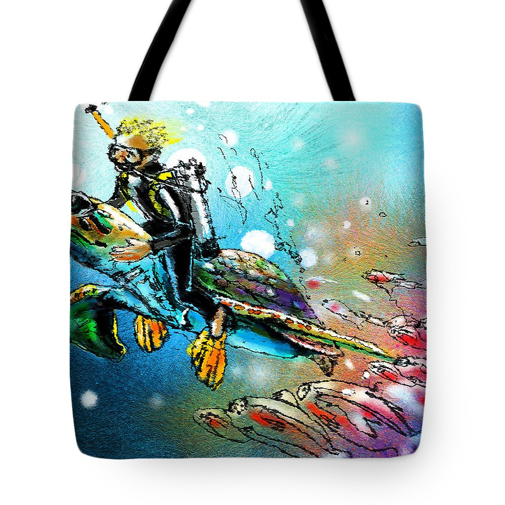 Turtle Painting Tote Bag featuring the painting Riding A Turtle by Miki De Goodaboom