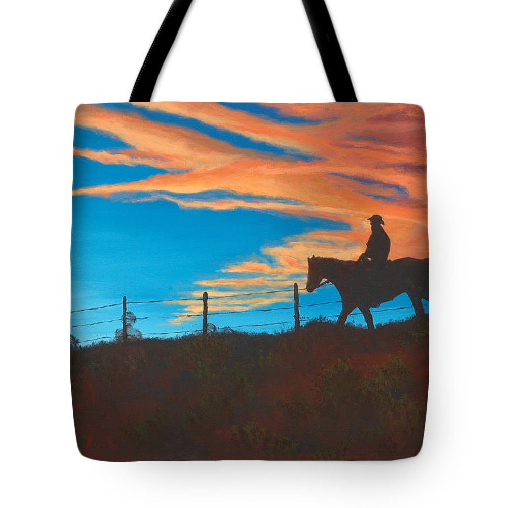 Cowboy Tote Bag featuring the painting Riding Fence by Jerry McElroy