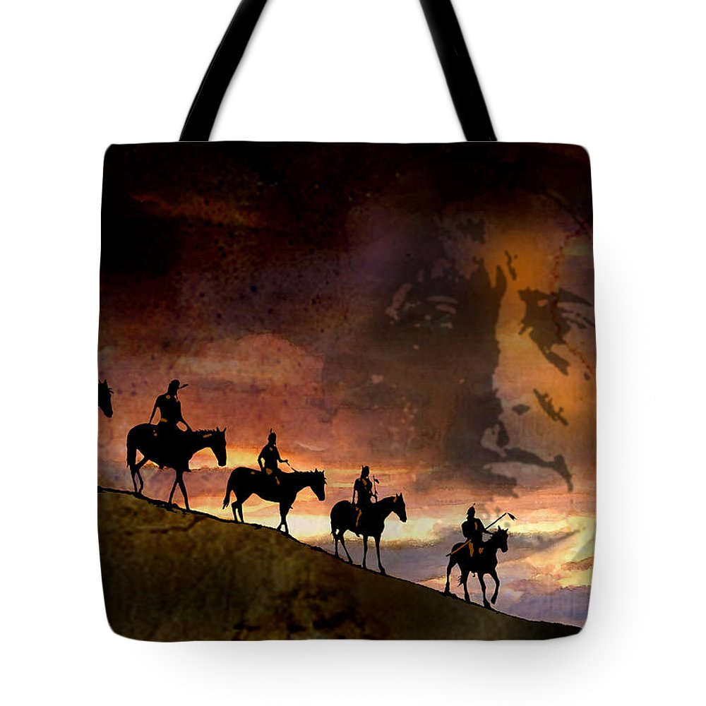 Native Americans Tote Bag featuring the painting Riding Into Eternity by Paul Sachtleben