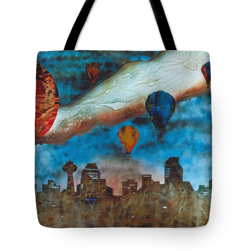 Landscape Tote Bag featuring the painting Riding the Chinook by Rick Silas
