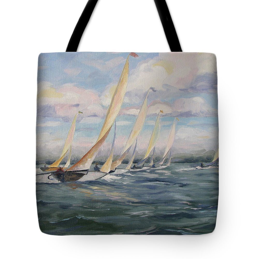 Riding Waves Tote Bag featuring the painting Riding The Waves by Jay Johnson