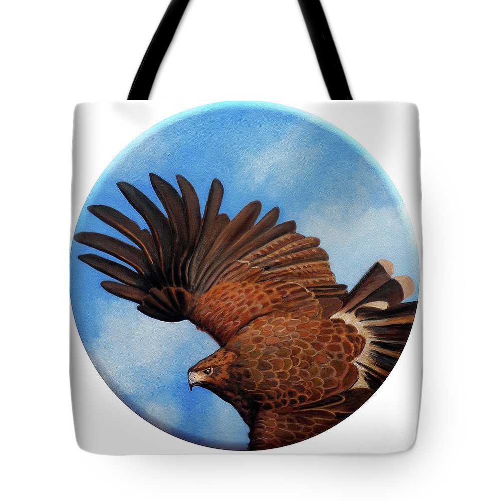 Hawk Tote Bag featuring the painting Riding The Wind by Brian Commerford