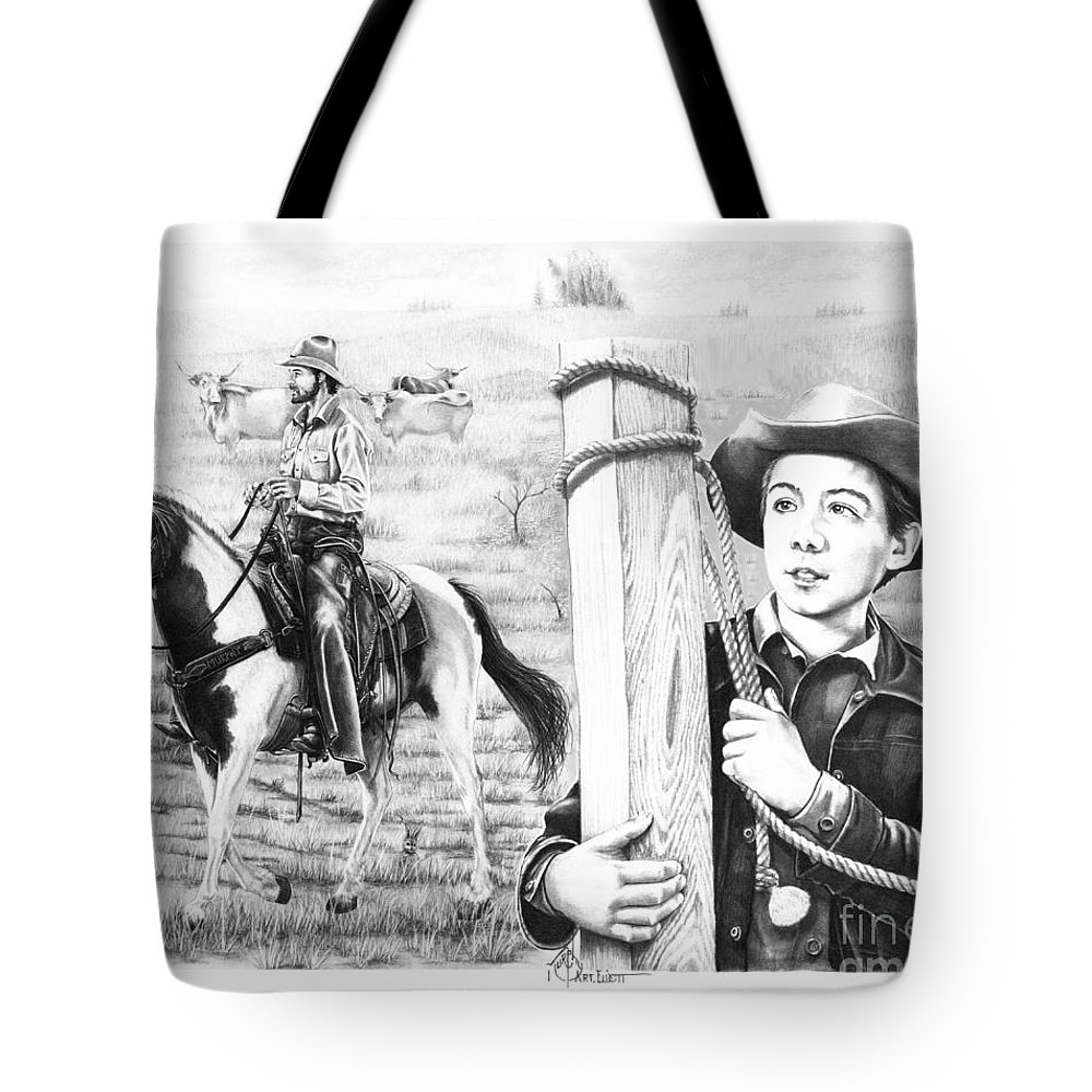 Pencil Tote Bag featuring the drawing Rifleman-mark-mccain by Murphy Elliott