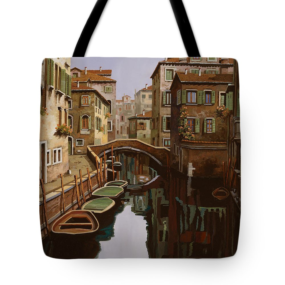Venice Tote Bag featuring the painting Riflesso Scuro by Guido Borelli